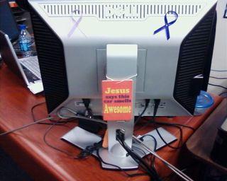 Jesus air freshner on comp