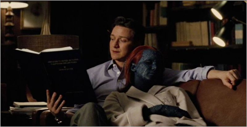 X-men first class, charles xavier (james mcavoy) and raven.mystique (jennifer lawrence)