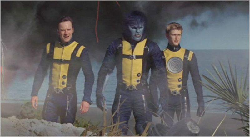 X-men first class, erik lehnsherr (michael fassbender), hank mccoy (nicholas hoult), and alex summers (lucal till)