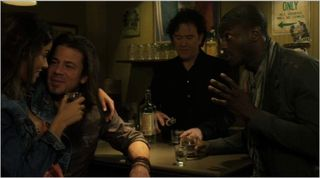 Leverage, the boy's night out job, eliot, nate, hardison, and sister lupe