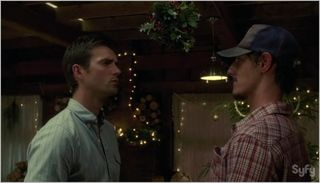 Haven, silent night, nathan and duke under mistletoe