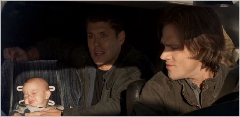 Supernatural, two and a half men, dean, sam and baby