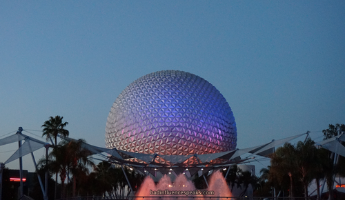 Epcot ball at dusk bis